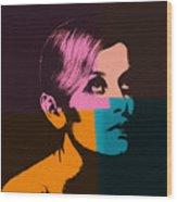 Twiggy Pop Art 2 Wood Print