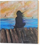 Twilifht On The Dock Wood Print