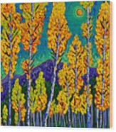 Twilight Aspens Wood Print