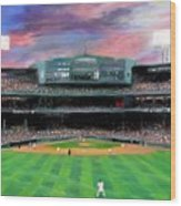 Twilight At Fenway Park Wood Print