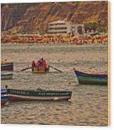 Twilight At The Beach, Miraflores, Peru Wood Print