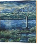 Twilight At The River Wood Print