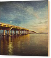 Twilight Biloxi Bridge Wood Print