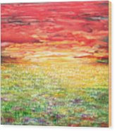 Twilight Bounds Softly Forth On The Wildflowers Wood Print