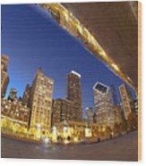 Twilight Chicago Skyline  Wood Print