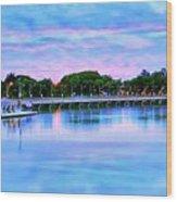 Twilight City Lake View Wood Print