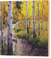 Twilight Glow Over Aspen Wood Print