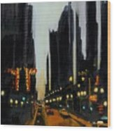 Twilight In Chicago Wood Print