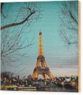 Eiffel Tower At Twilight  Wood Print