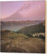 Twilight In The Alps Wood Print