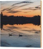 Twilight Lake Swim New Jersey Wood Print