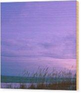 Twilight Moon Over Sand Dunes Wood Print