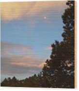 Twilight Moon Over The Hills Wood Print