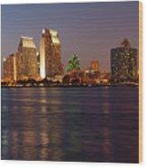 Twilight On San Diego Harbor Wood Print