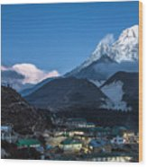 Twilight Over Pangboche In Nepal Wood Print