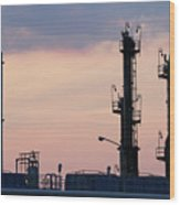Twilight Over Petrochemical Plant Wood Print