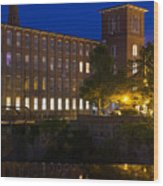 Twilight Over The Cocheco Mills Dover New Hampshire Wood Print