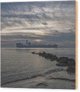 Twilight Steaming Into Charleston Harbor Wood Print