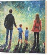 Twilight Walk Family Two Sons Wood Print