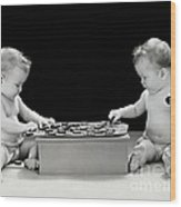 Twin Babies Playing Checkers, C.1930-40s Wood Print