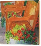 Twin Benches Wood Print