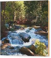 Twin Bridges Cascades Wood Print