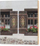 Twin Decorated Windows Wood Print