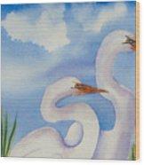 Twin Egrets 2 Wood Print