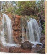Twin Falls At Ironstone Gully Wood Print