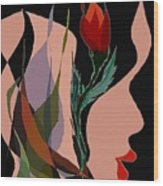 Twin Fire Flower Head 2 Wood Print by Navo Art