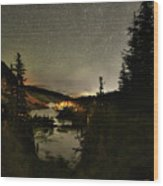 Twin Lakes Night Panorama Wood Print