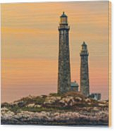 Twin Lights With Morning Glow Wood Print