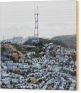 Twin Peaks In San Francisco Aerial Photo Wood Print