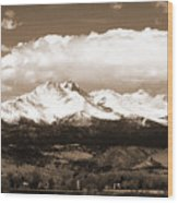 Twin Peaks In Sepia  Wood Print