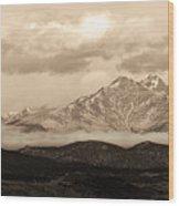 Twin Peaks Sepia Panorama Wood Print