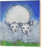 Twin Sheep Wood Print