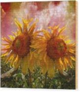 Twin Sunflowers Wood Print