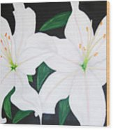 Twin White Lillies Wood Print