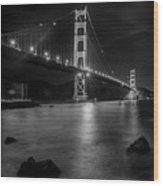 Twinkling Golden Gate Bridge Black And White Wood Print