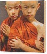 Twins In Orange Wood Print