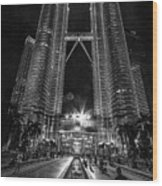Twintowers At Night Wood Print