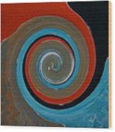 Twirl Red 01 Wood Print