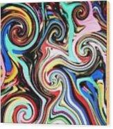 Twisted Lines Wood Print