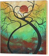 Twisting Love II Original Painting By Madart Wood Print by Megan Duncanson
