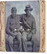 Two African American Soldiers Wearing Wood Print by Everett