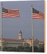 Two American Flags With Old Post Office Building Wood Print