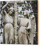 Two Angels With Cross Wood Print