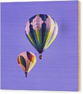 Two Balloons In The Clear Blue Sky  Wood Print