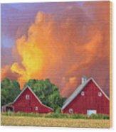 Two Barns At Sunset Wood Print