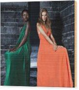 Two Beautiful Women In Elegant Long Dresses Wood Print